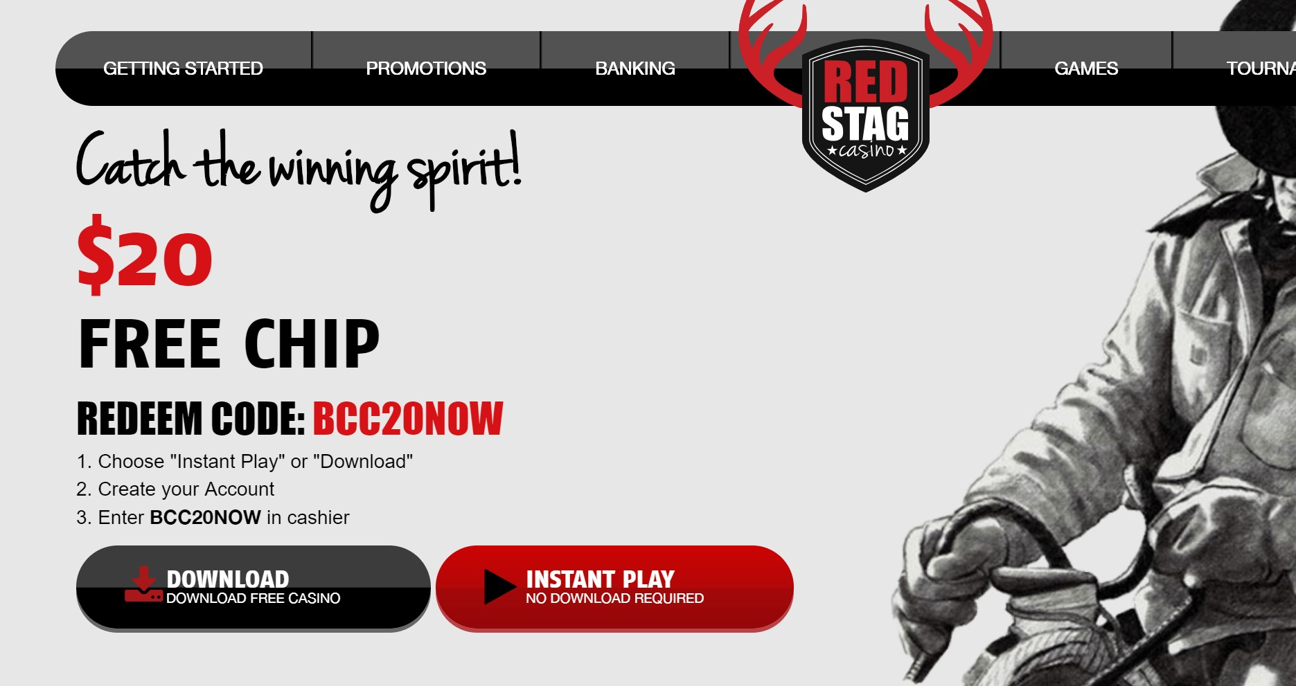 Red Stag Casino 20 Free Offer 20 Free Chips No Deposit Required