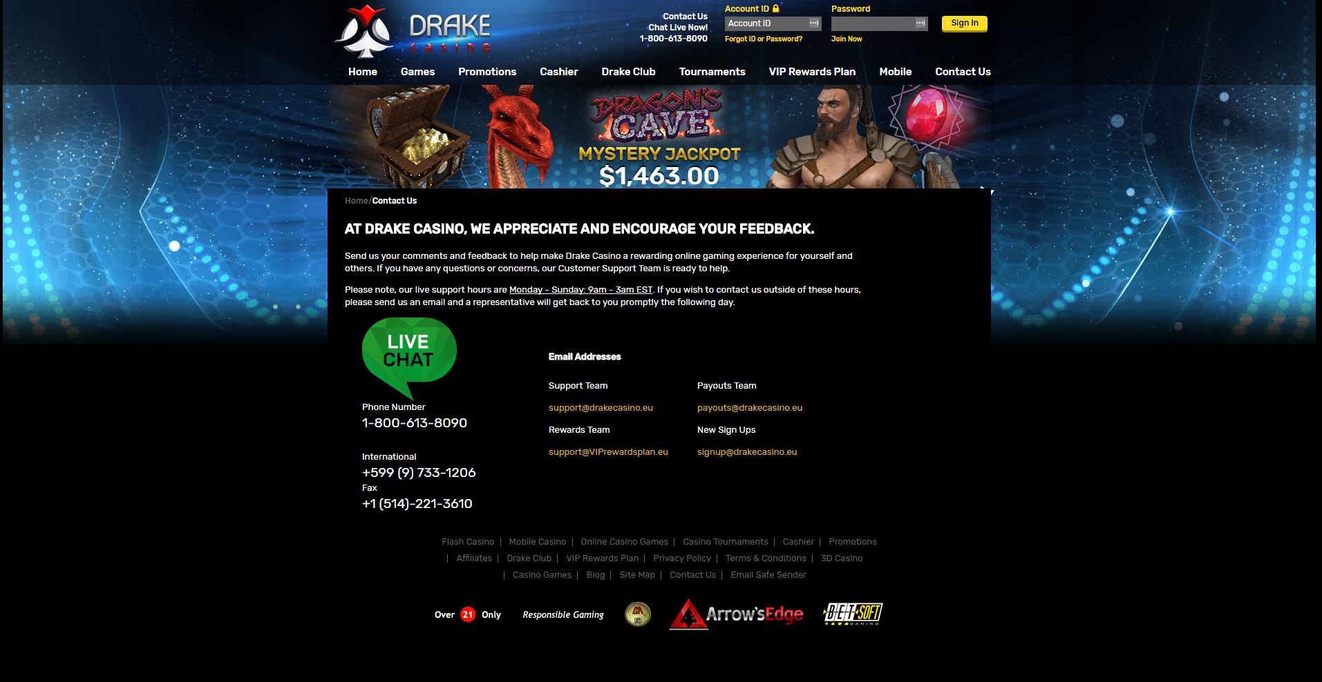 Drake-Casino-customer-service