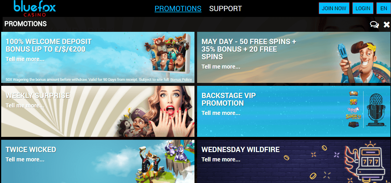 Bluefox casino promotions
